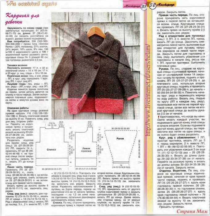 Вязание спицами для девочек пальто кардиган