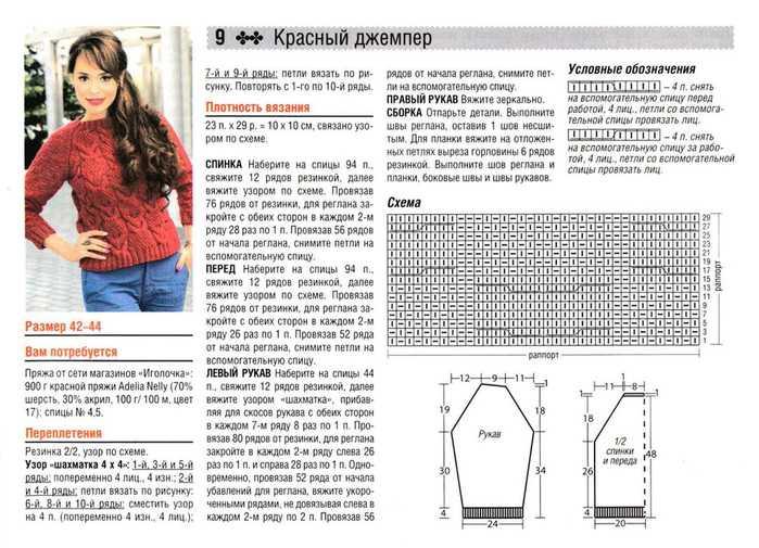 Как связать женский свитер спицами схемы реглан