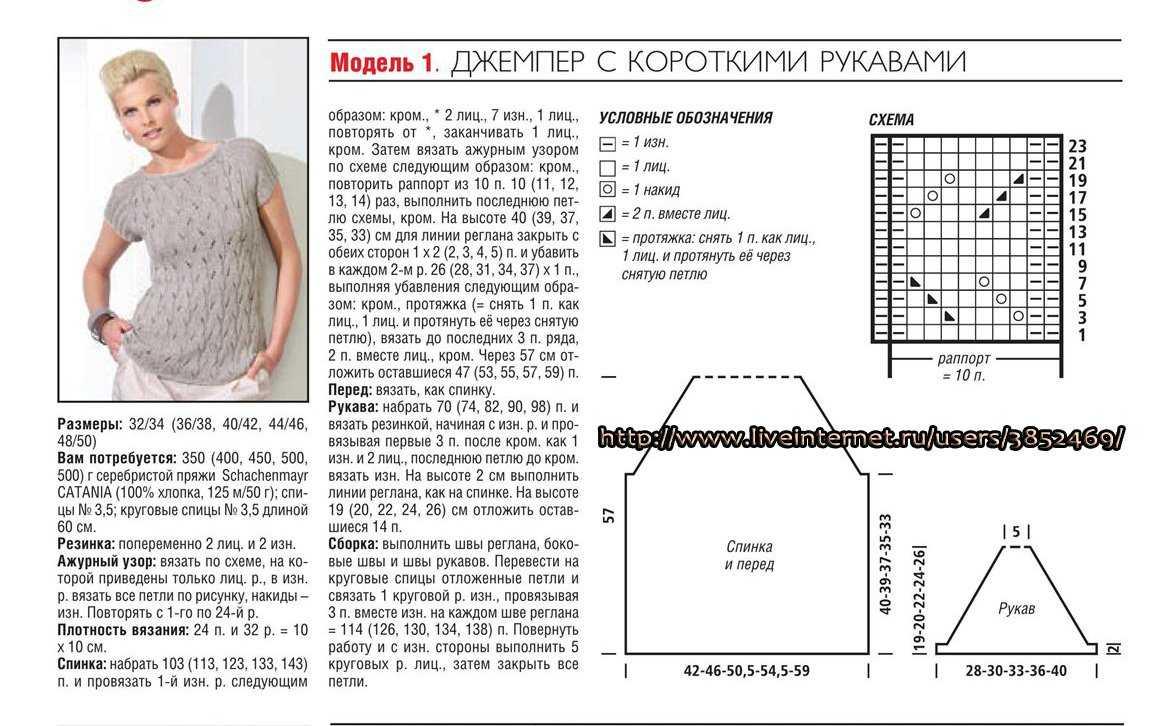 Вязание схемы спицами кофты размер 48