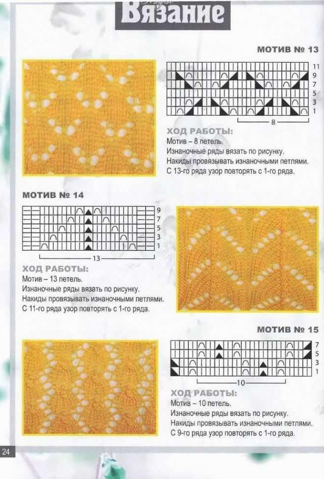 Вязание спицами узоров с накидами 997
