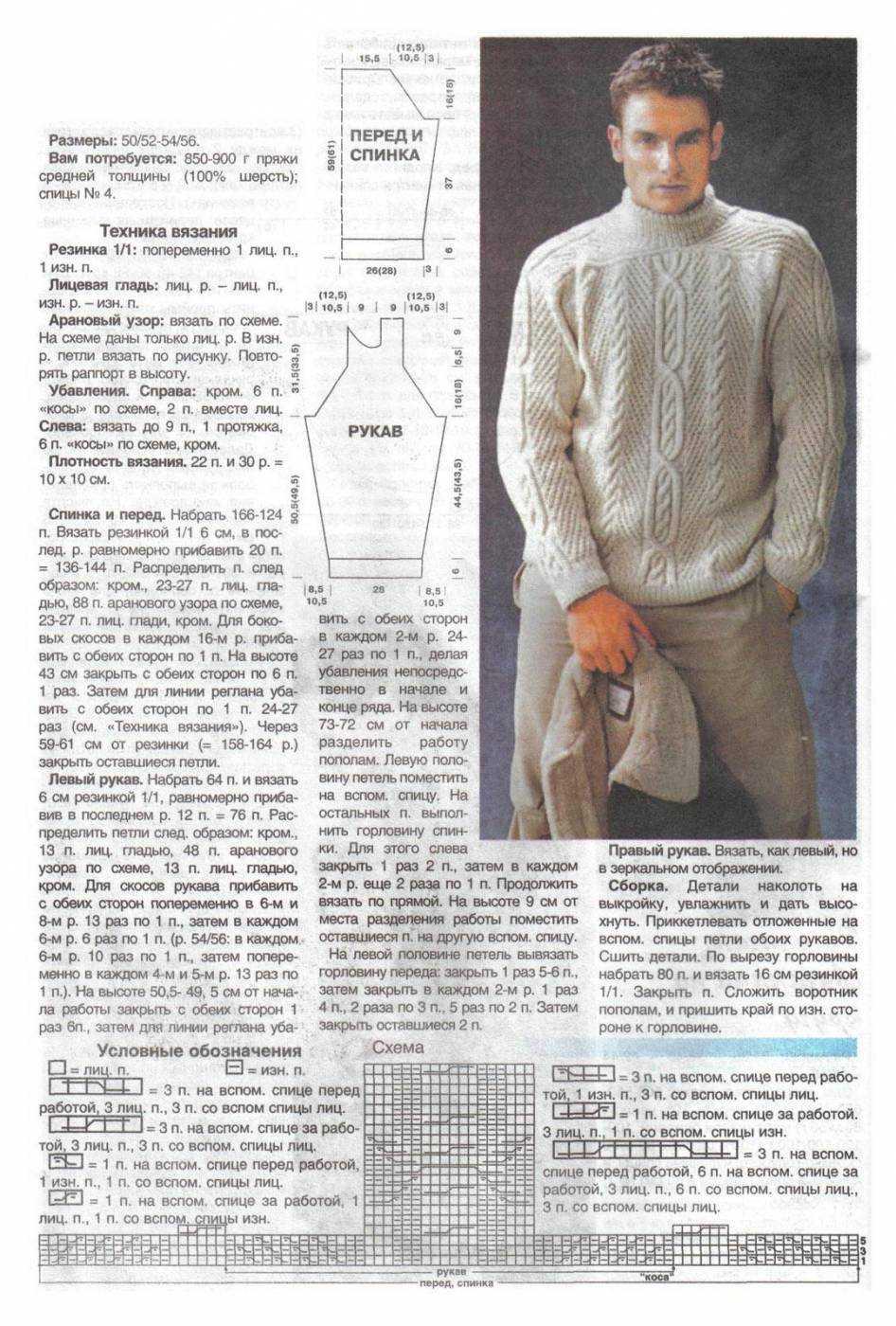 Вязание свитеров мужчинам со схемами