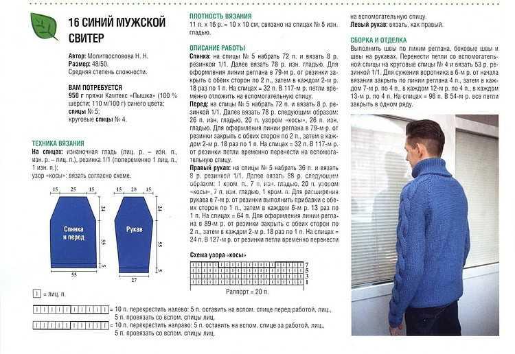 Вязание мужские свитера спицами с описанием