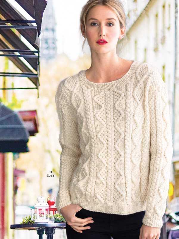 Вязание женского свитера аранами