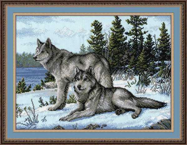 Схема вышивки волчьей пары