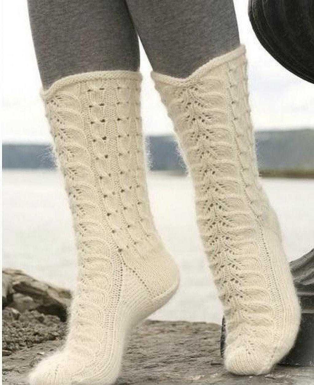 ажурные носочки схема описание