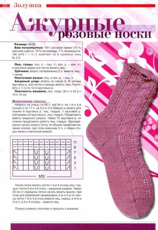 Как вяжут спицами ажурные носки с видео