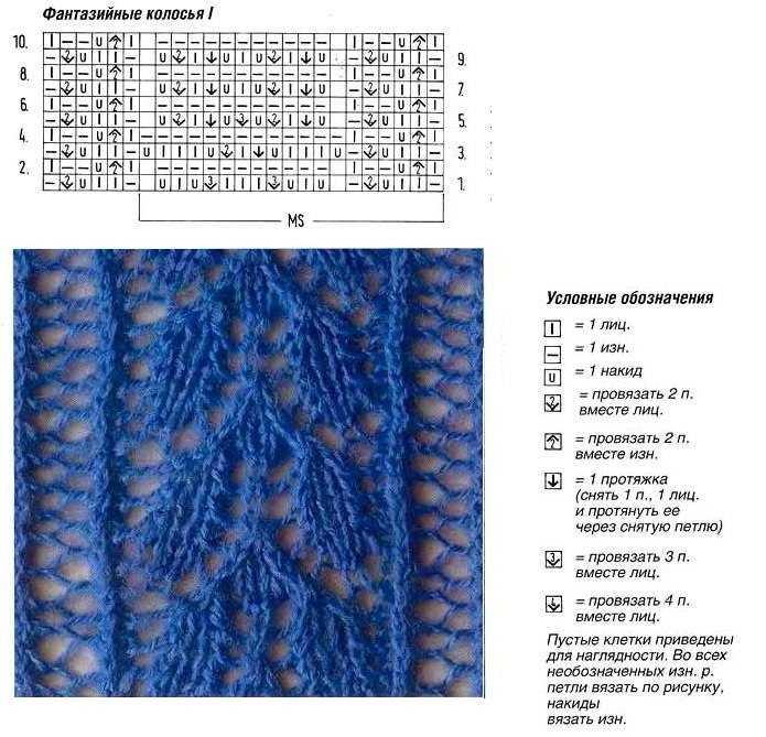 Вязание спицами узоры колосок и схемы 53