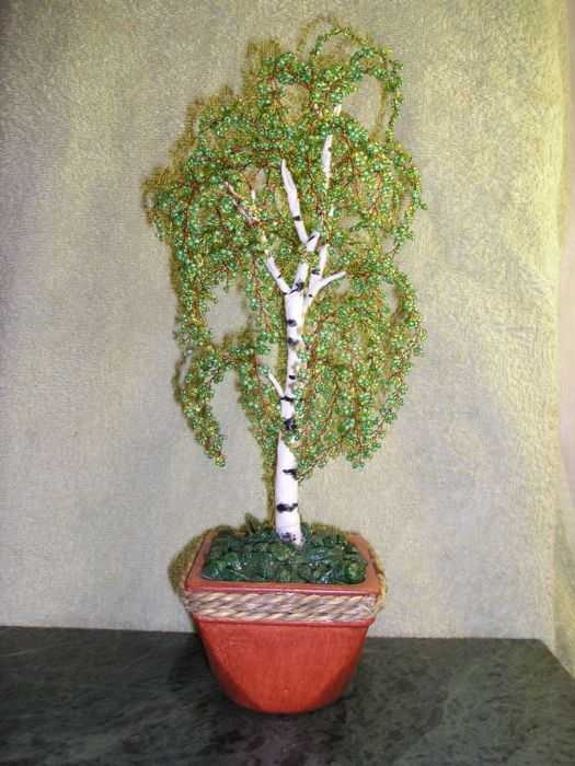 Дерево из бисера березка
