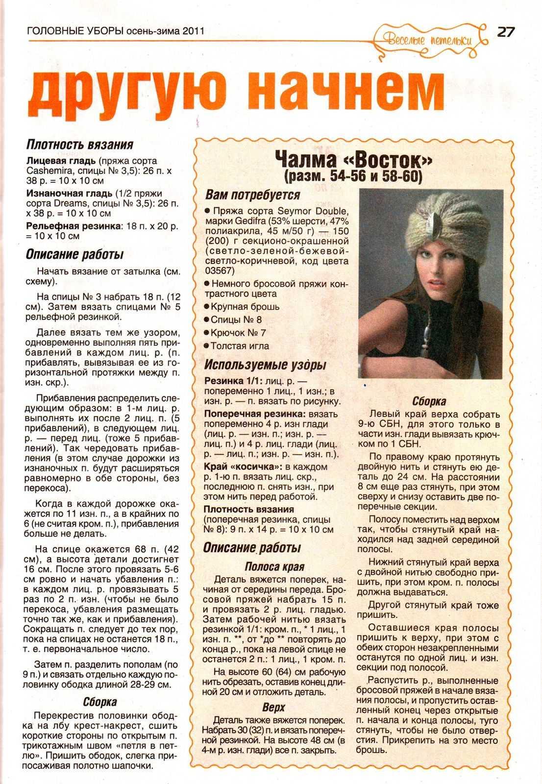 Вязание спицами шапка-чалма о описанием