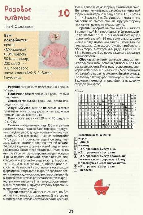 Схема вязания платья до года 1