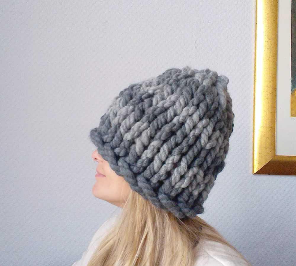 Вязание шапок из толстой пряжи спицы