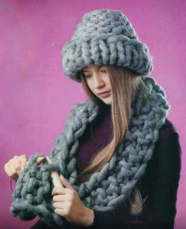 вязать шарф из толстой пряжи