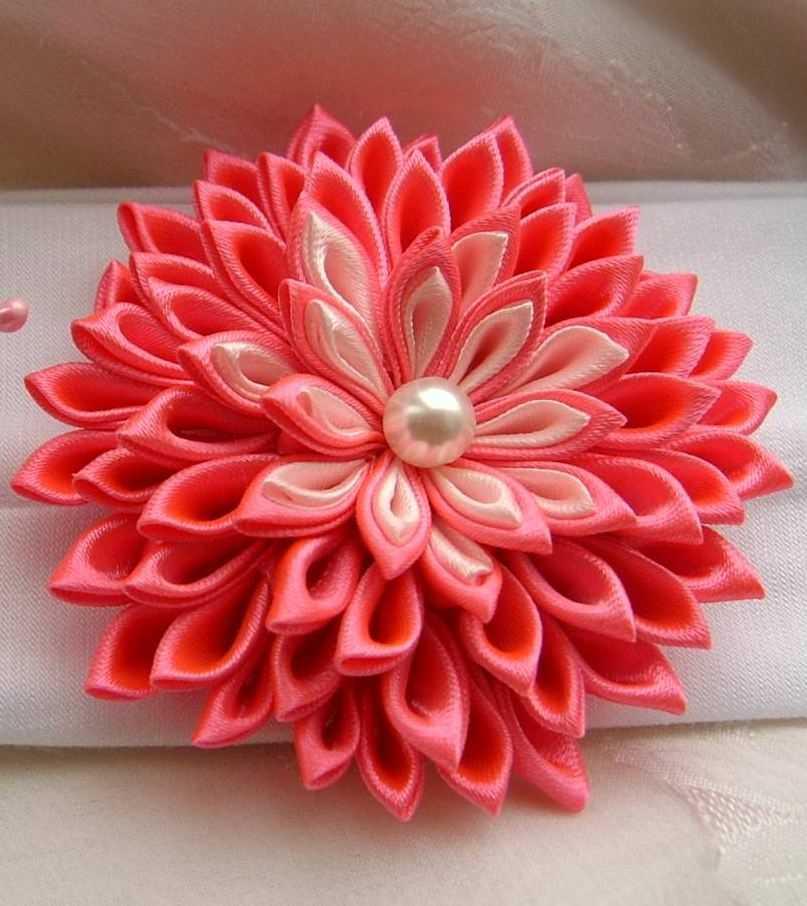 Цветы из ткани своими руками ленты 7