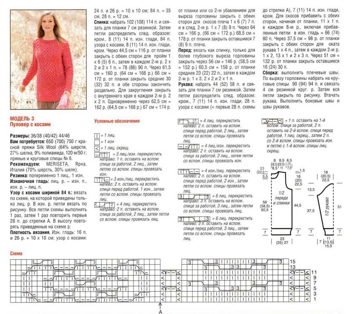 Женский джемпер описание вязания схемы
