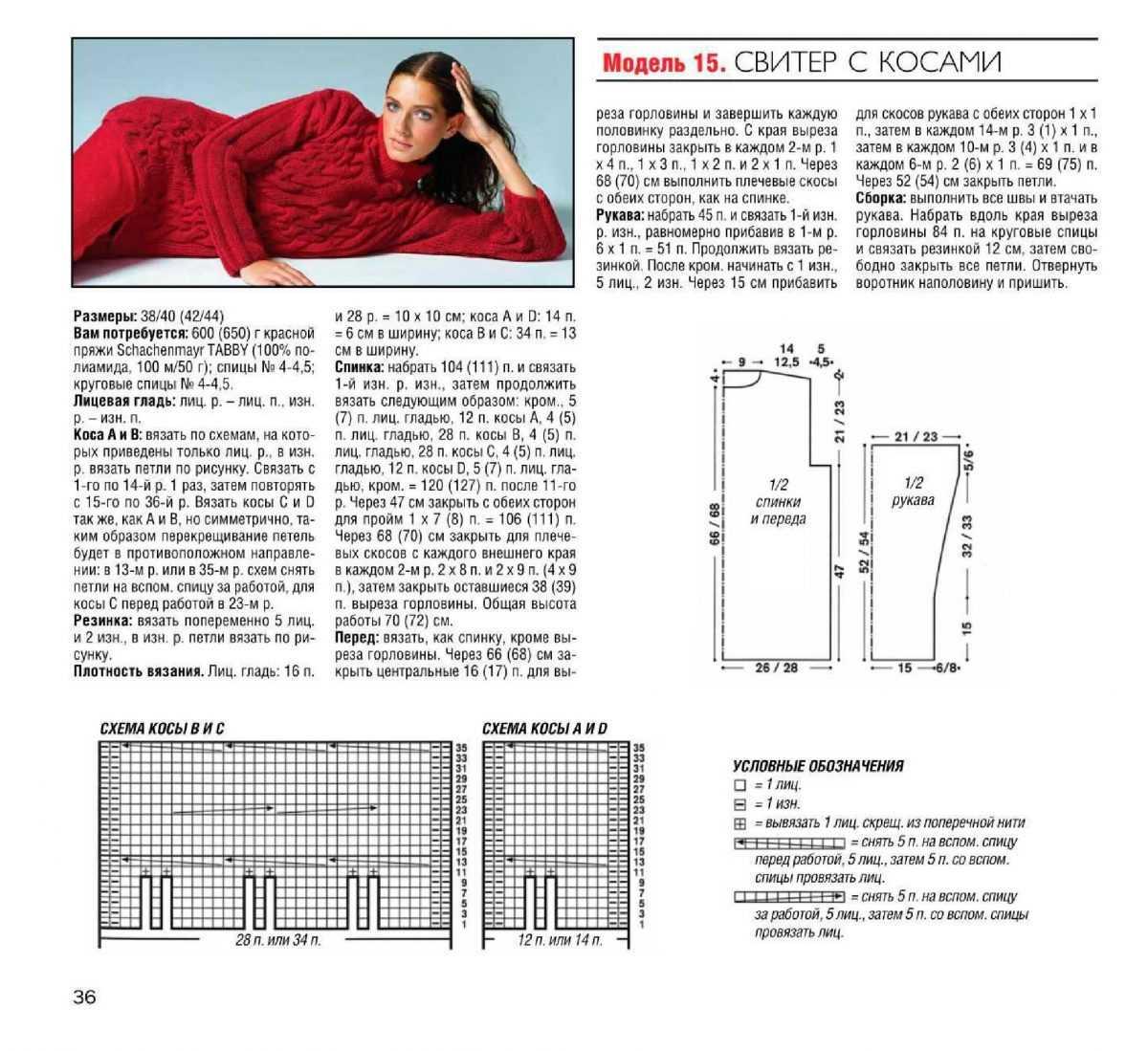 Схемы вязания с косами 33