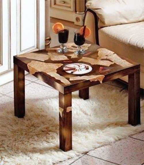 Декор деревянного стола своими руками фото