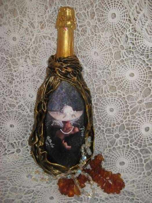 Декупаж бутылка фотографии