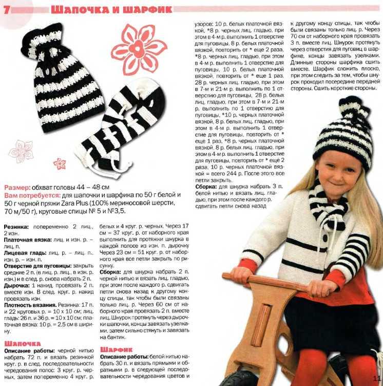 Вязание спицами шапки и шарфы для девочек