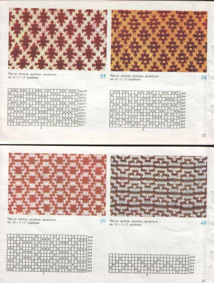 Двухцветные узоры вязания спицами видео