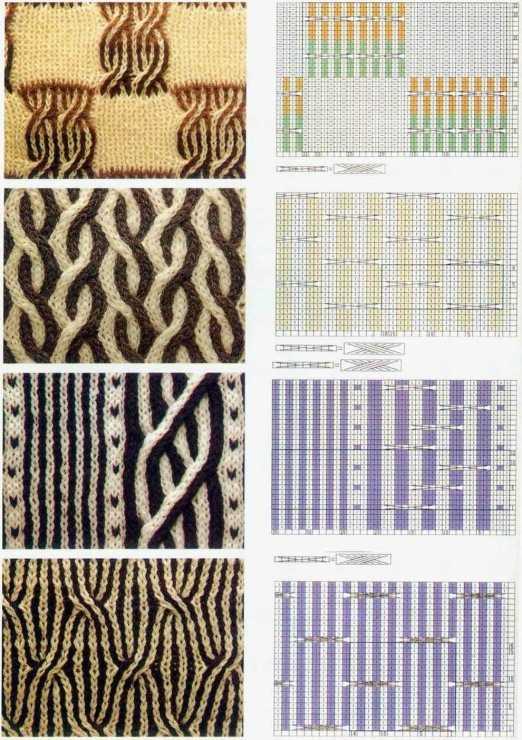 Вязание спицами схемы и описание двухцветных узоров спицами