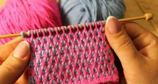 Фото вязания спицами двухцветных узоров