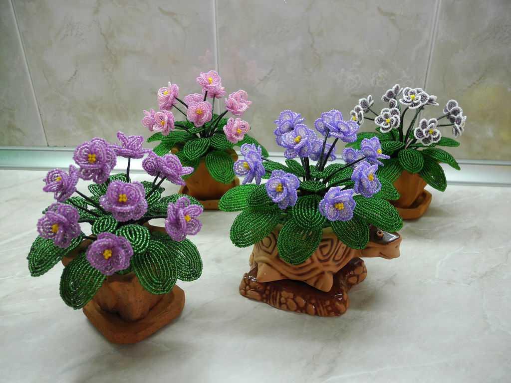 Фиалка из бисера мастер класс собрать цветок  #7