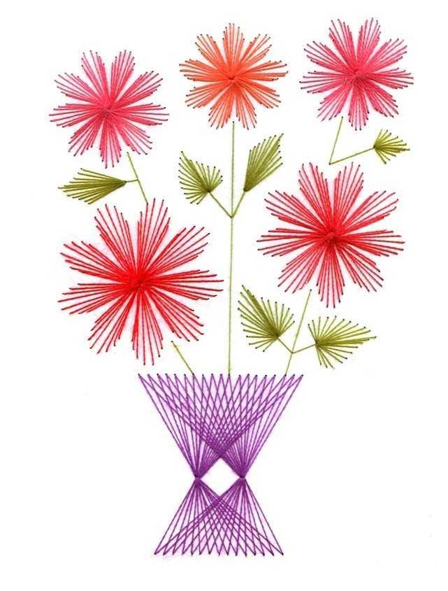 Вышивка цветов в технике