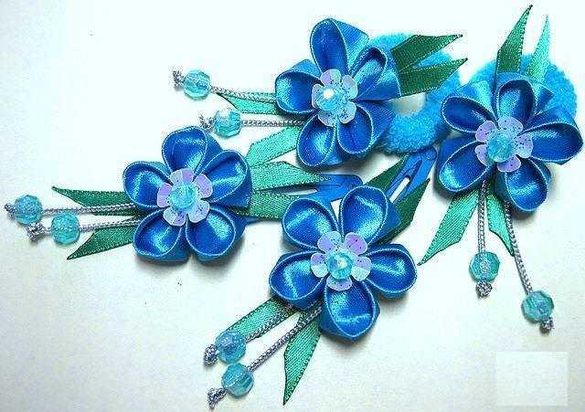 Цветы незабудки из лент