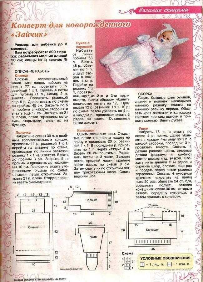 Вяжем конверт для новорожденного крючком схема