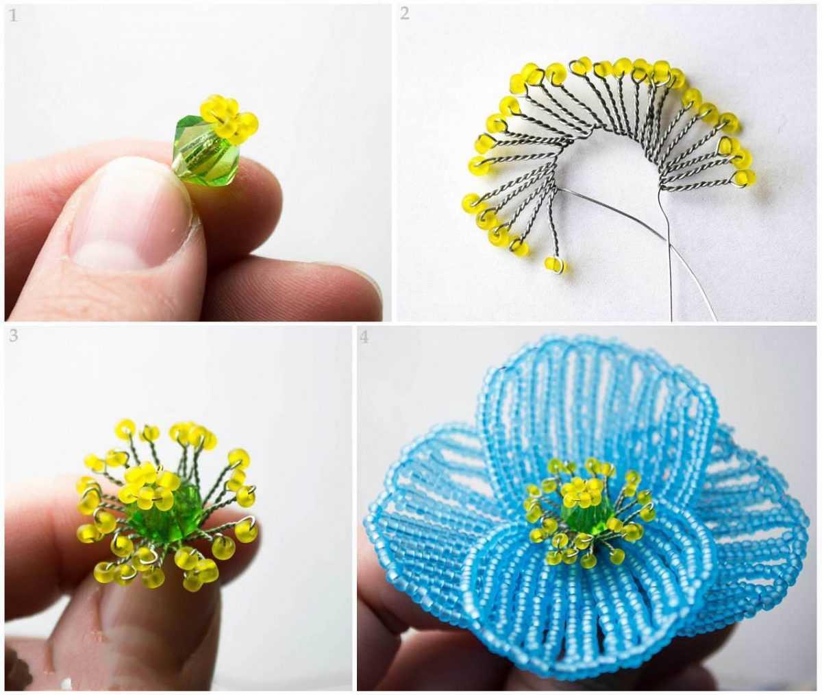 Как сделать для серединку цветка из бисера