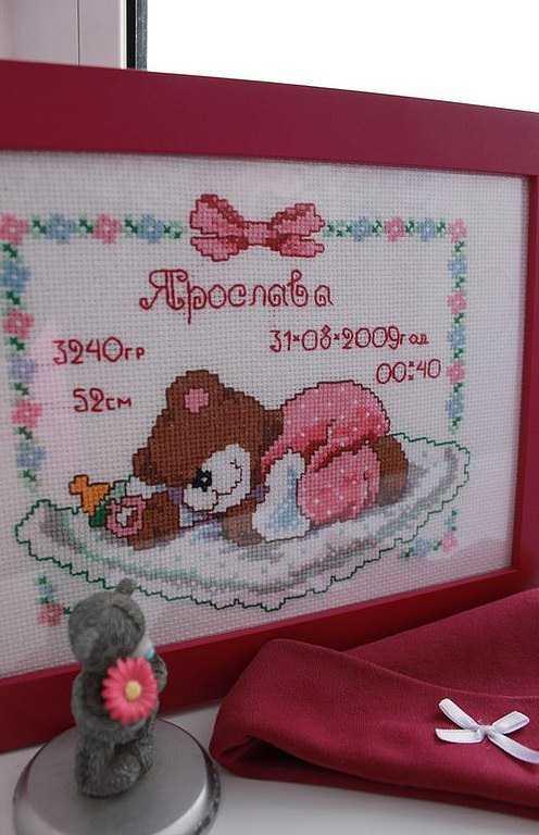Метрика для новорожденных вышивка крестом схемы: скачать