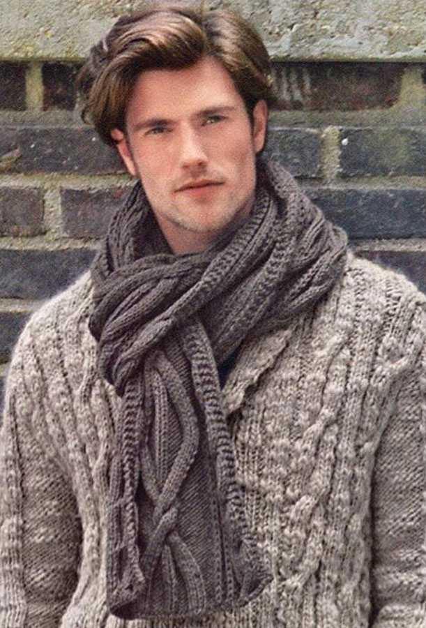 как вязать мужской шарф в картинках