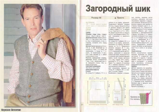 Вязание простой мужской жилетки спицами