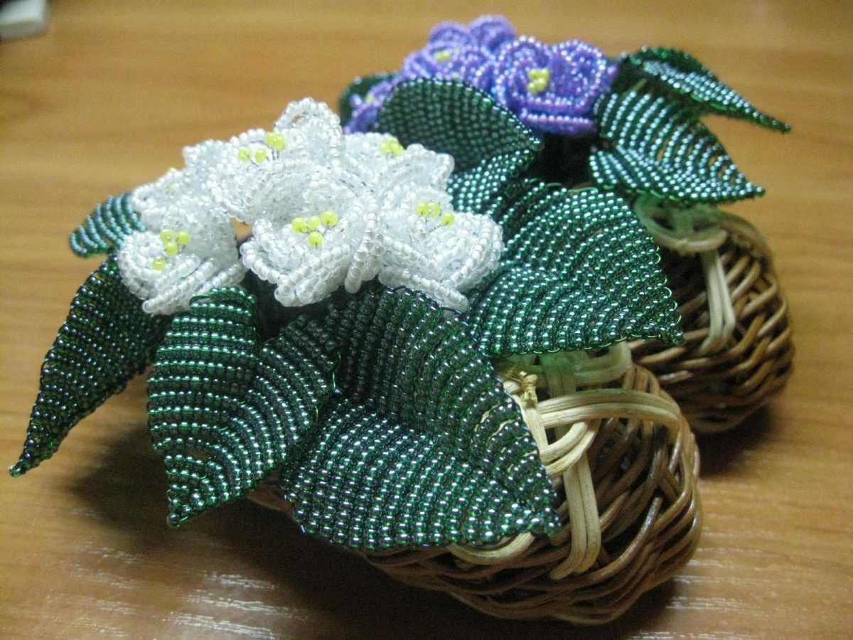 Цветы из бисера параллельное плетение фото