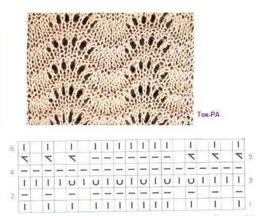 Схема вязания спицами веером 541