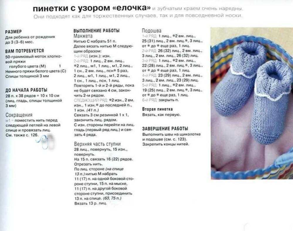 Схема детских носков на спицах для новорожденных