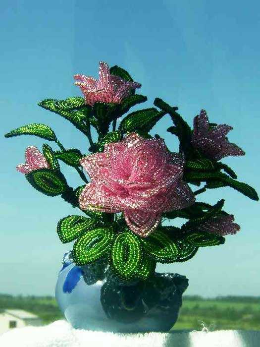 Плетение из бисера розы схемы для начинающих