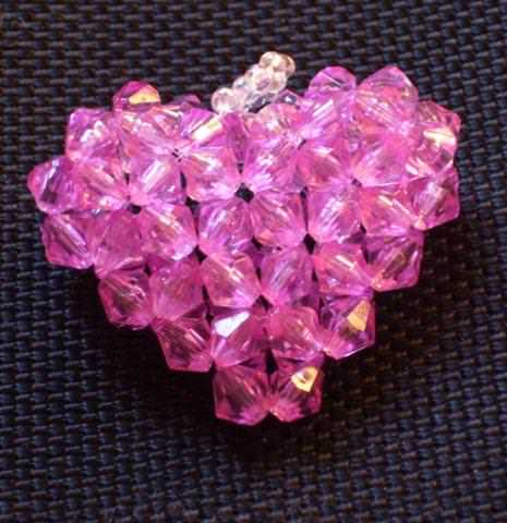 Объемное розовое сердце из