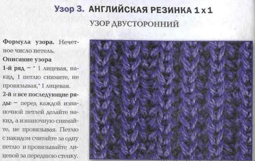 Как связать на спицах английскую резинку спицами для начинающих схема