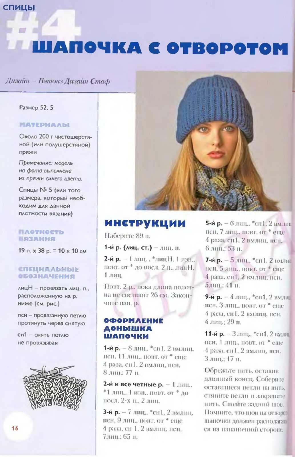 Схема вязания резинки с отворотом для шапки