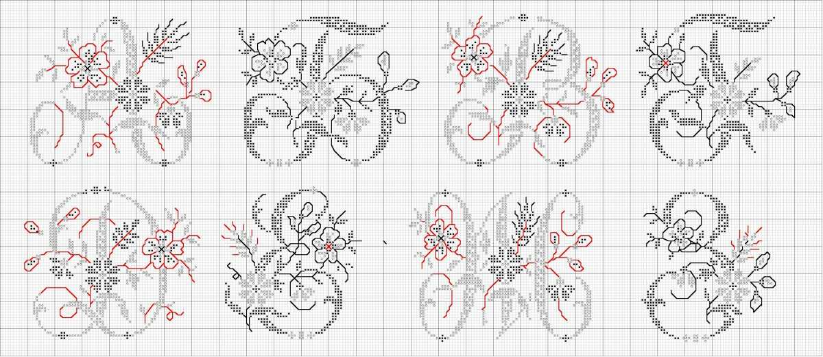 Схема вышивки букв крестиком