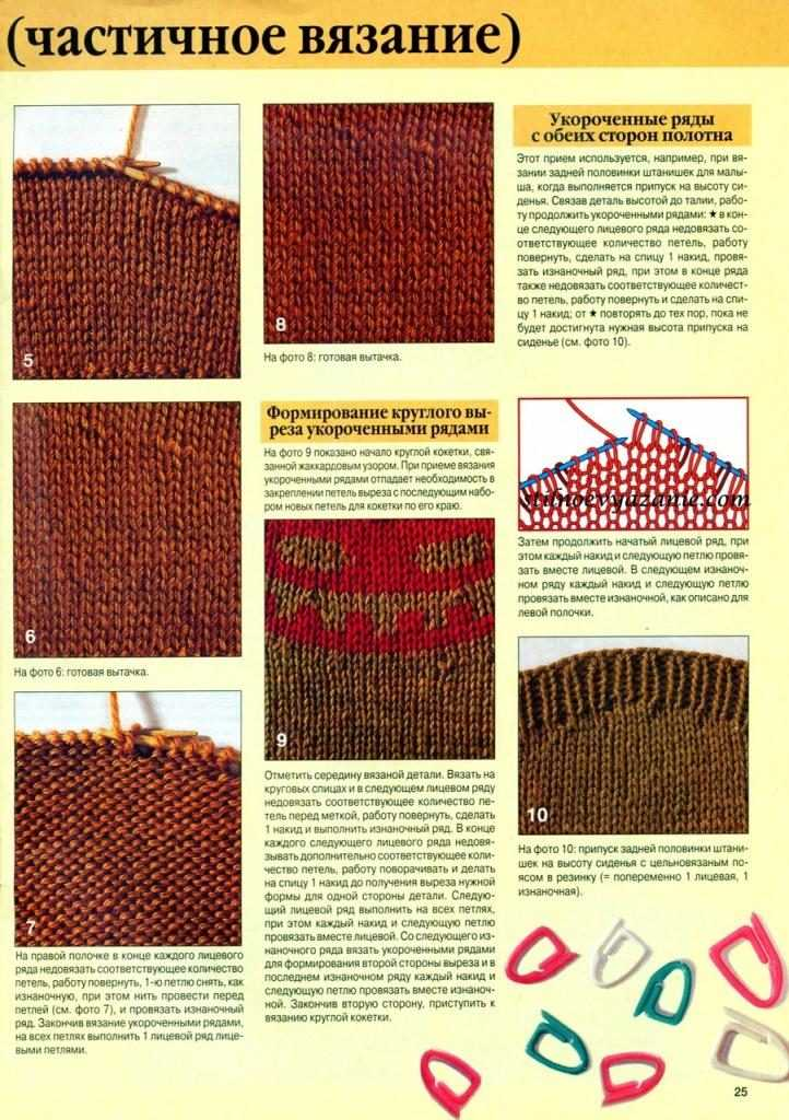 Частичное вязание на спицах видео