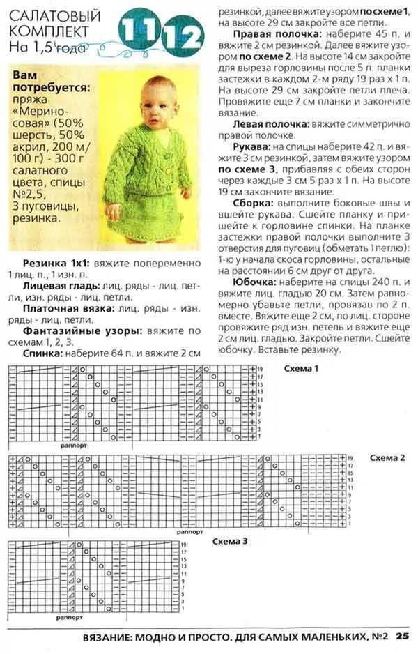 Вязание спицами кофта на девочку 1 год
