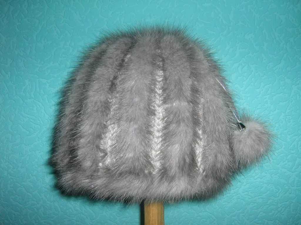 Вязание мехом норки шапки