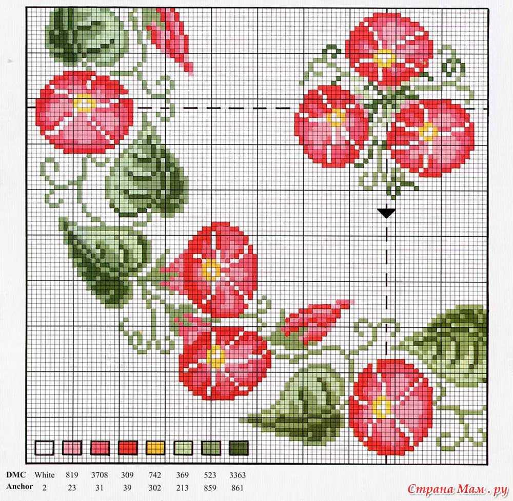 Вышивка для скатерти цветы 310