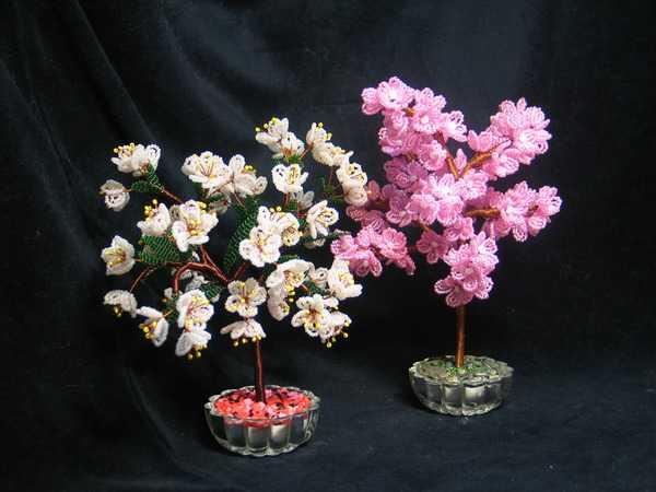 Цветущие деревья из бисера мастер класс с пошаговым фото для начинающих схема