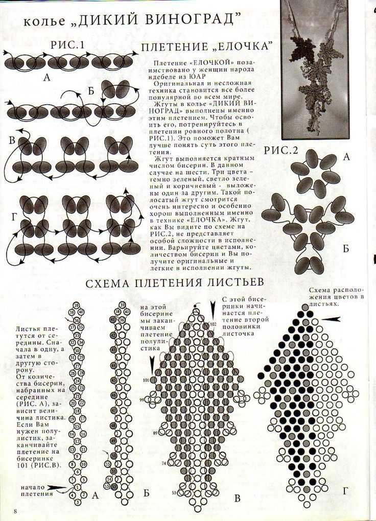 Видео плетение листьев из бисера схемы