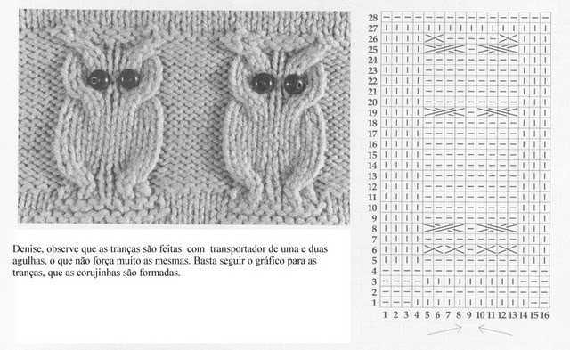Вязание с совами спицами схемы