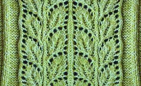 Схема вязания рисунка листочков
