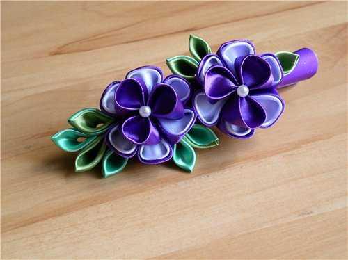Цветы заколки  из лент 170